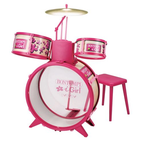 Pink Drum Set with Stool