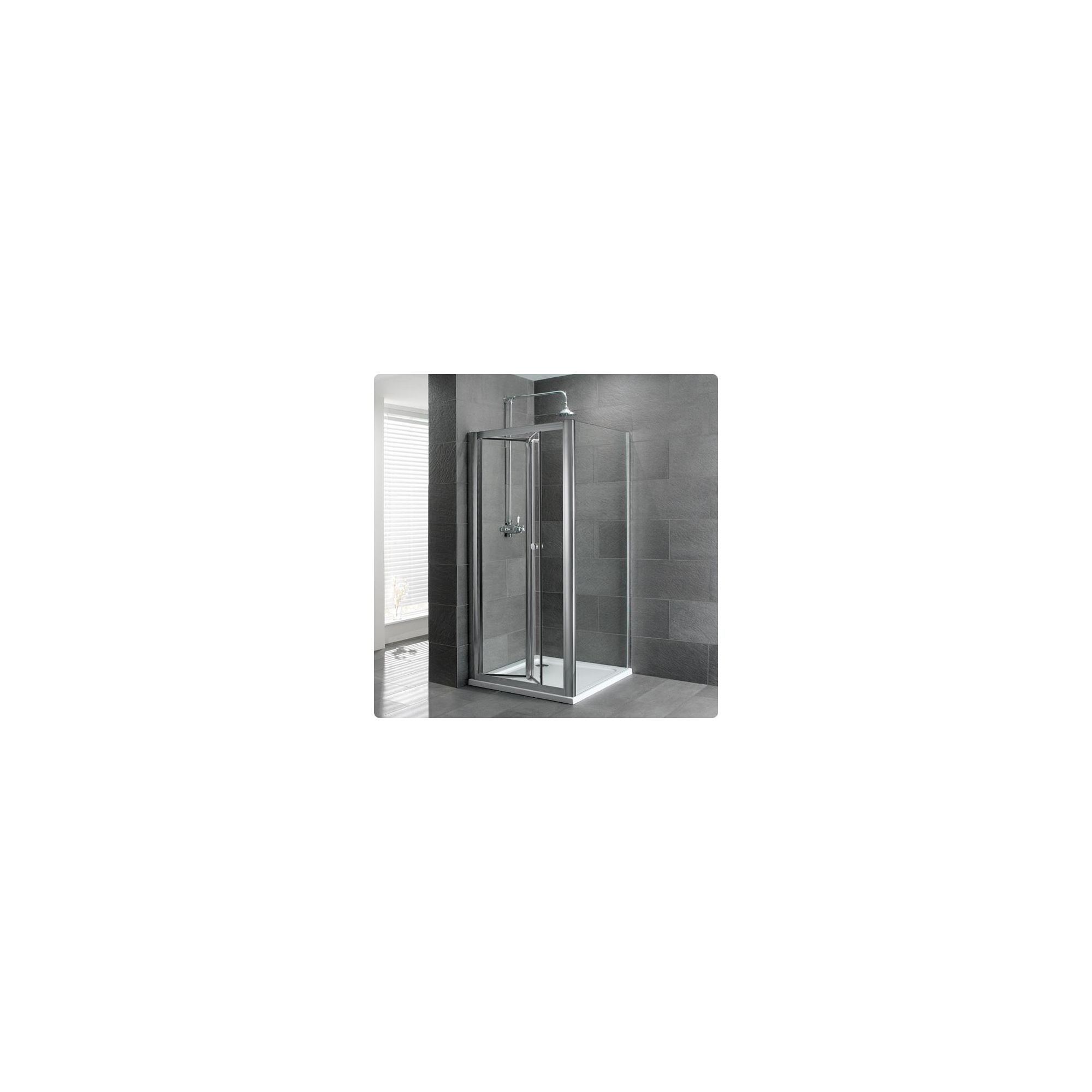 Duchy Select Silver Bi-Fold Door Shower Enclosure, 760mm x 760mm, Standard Tray, 6mm Glass at Tesco Direct