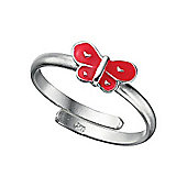Red Butterfly Sterling Silver Adjustable Ring