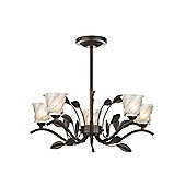 Modern Bronze Ceiling Light with Flower and Leaf Decoration
