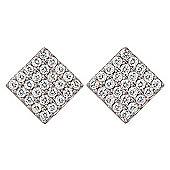 Silver stud earrings with pave squares