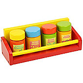 Bigjigs Toys BJ359 Wooden Play Food Spice Rack and Four Spices