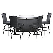 Marrakech 5-piece Rattan Outdoor Bar Set, Black