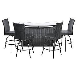 Marrakech 5-piece Rattan Outdoor Bar Set, Black