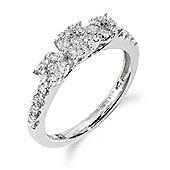 Gemondo 18ct White Gold 0.50ct Diamond Trilogy Style Ring