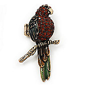 Exotic Amber/Green Crystal 'Parrot' Flex Ring In Burnt Gold Plating - 7.5cm Length (Size 7/8)