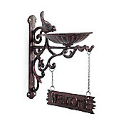 Vintage Brown Cast Iron Bracket 'Welcome' Sign with Bird Feeder