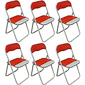 Harbour Housewares Red / White Padded, Folding, Desk Chair - Pack of 6
