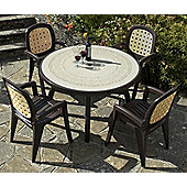 Nardi Colosseo 120cm Ravenna Table with Lesena Rattan Chairs in Coffee