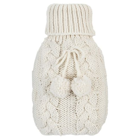 Cable Knit Hot Water Bottle - Cream