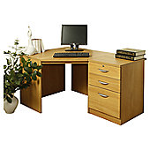 Enduro Home Office Corner Desk with Inbuilt Pedestal - English Oak