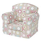 Children's Single Sofa - Beige Tea Cups