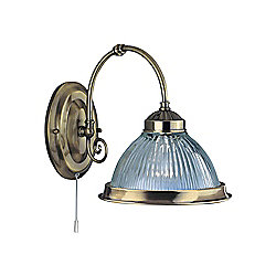 Antique Brass American Diner Wall Light Fitting with Clear Ribbed Glass
