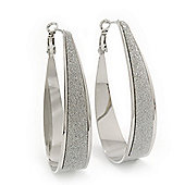Silver Plated Textured Oval Hoop Earrings - 6cm Length