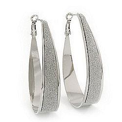 Silver Plated Textured Oval Hoop Earrings - 6cm Length