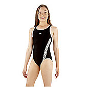 Speedo Girl's 'Monogram' Muscleback Swimsuit - Black