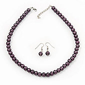 Purple Glass Bead Necklace & Drop Earring Set In Silver Metal - 38cm Length/ 4cm Extension