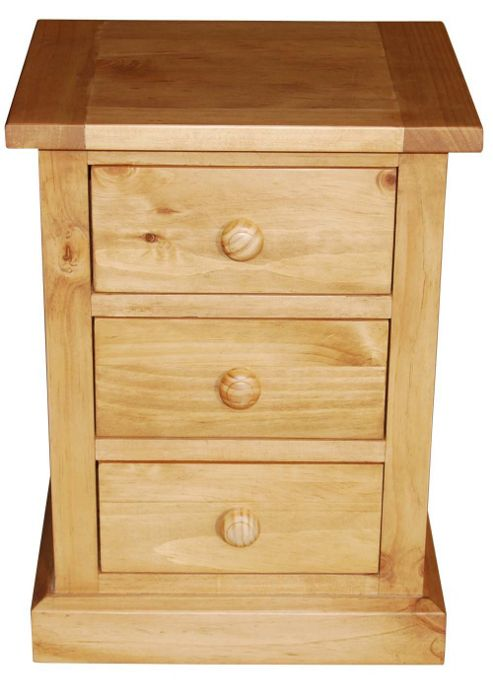 Furniture Link Devon Three Drawer Nightstand in Pine