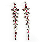 Long Vintage Statement Earrings (Silver&Magenta)