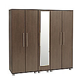 Ideal Furniture New York 5 Door Wardrobe - Gloss Black