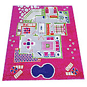 Little Helper 3D Playmat & Rug Playhouse Pink 80X100Cm