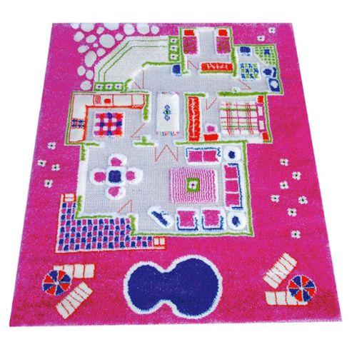 Little Helper 3D Playmat & Rug Playhouse Pink 80X100Cm