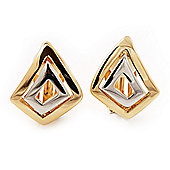 2-Tone 'Diamond' Shape Clip-on Earrings - 20mm Length