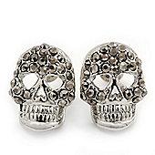 Dim Grey Crystal Skull Stud Earrings In Rhodium Plating - 15mm Length