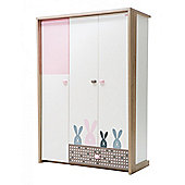 NewJoy Pink Bunny 3 Door Children s Wardrobe