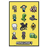 Gloss Black Framed Minecraft Characters Poster