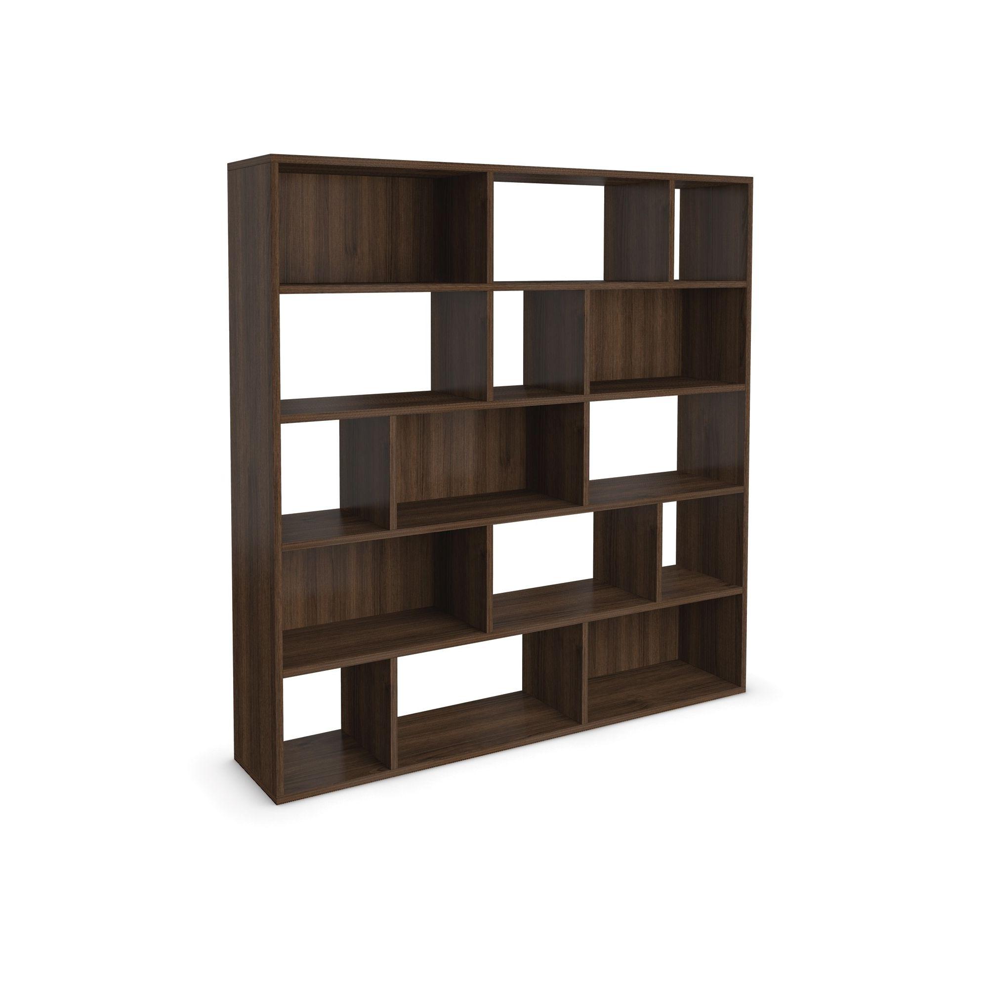 Urbane Designs Hadlee Contemporary Walnut Livingroom Large Asymmetric Shelf at Tescos Direct