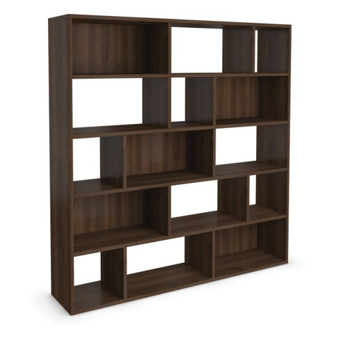 Urbane Designs Hadlee Contemporary Walnut Livingroom Large Asymmetric Shelf