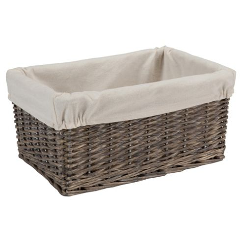 Tesco Wicker Fabric Lined Media Storage, Grey