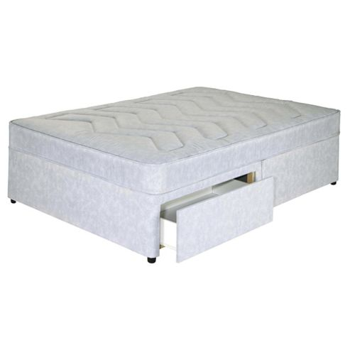 Buy tesco everyday value open coil 2 drawer storage divan for Single divan bed with slide storage
