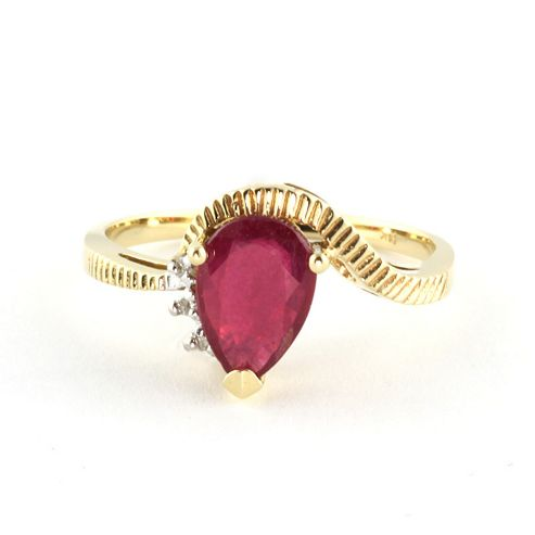 QP Jewellers Diamond & Ruby Belle Diamond Ring in 14K Gold - Size A