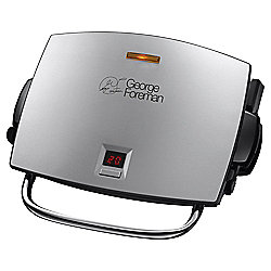 George Foreman 14525 Four Portion Easy Clean Family Grill and Melt with Removable Plates - Brushed Steel
