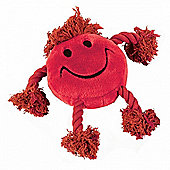 Happy Face Plush Rope Dog Toy (Red)