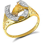 Jewelco London 9ct Solid Gold light weight horse shoe Ring hand-set with CZ stones