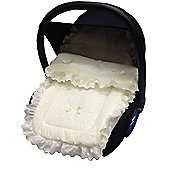 Broderie Anglaise Car Seat Footmuff To Fit Silver Cross Cream