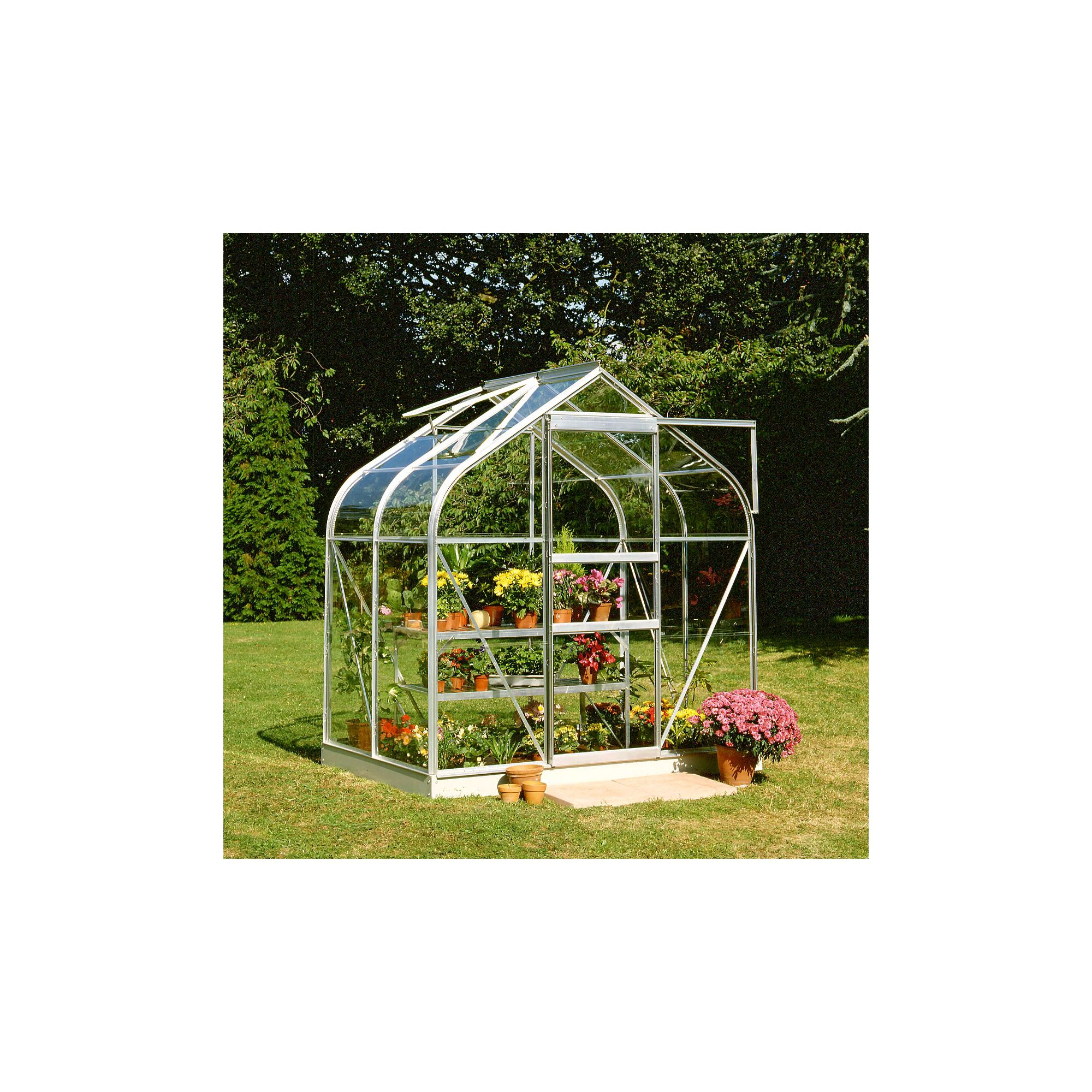 Halls 4x6 Curved Aluminium Greenhouse + Base - Horticultural Glass at Tesco Direct