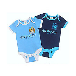 Manchester City Baby 2 Pack Bodysuits - 2015/16