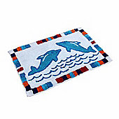 Homescapes Cotton Tufted Washable Blue Dolphins Kids Rug