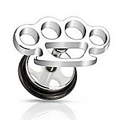 Urban Male Surgical Stainless Steel Fake Knuckle Duster Ear Expander Plug