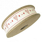 Ribbon Reel - Red Hearts on Cream