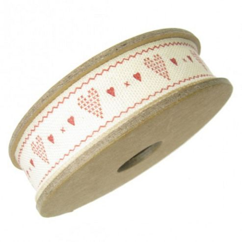 Ribbon Reel - Red Hearts on Cream