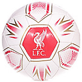 Liverpool FC Hex Official Supporter Football Soccer Ball White - Size 5