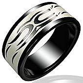 Urban Male Two Colour Men's Tribal Design Stainless Steel Ring 8mm