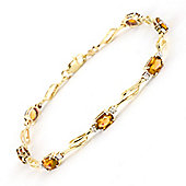 QP Jewellers 8.5in Diamond & Citrine Classic Tennis Bracelet in 14K Gold