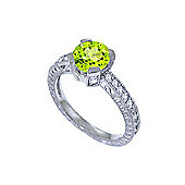 QP Jewellers Diamond & Peridot Fantasy Ring in 14K White Gold