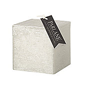 Parlane Chunky Square Candle In Stylish Silver - 35 Hours Burning Time